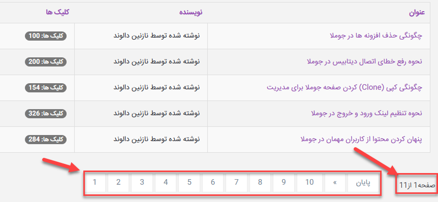 Pagination Numbers